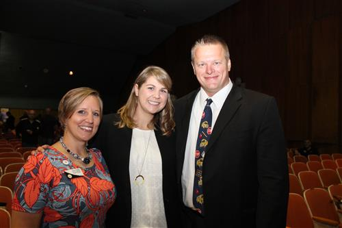 Superintendent Seth Turner, Sydney Chaffee, and Amy Hysick.