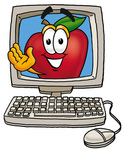 apple waving from computer screen