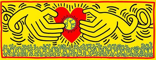 Keith Haring Hands holding Heart/world